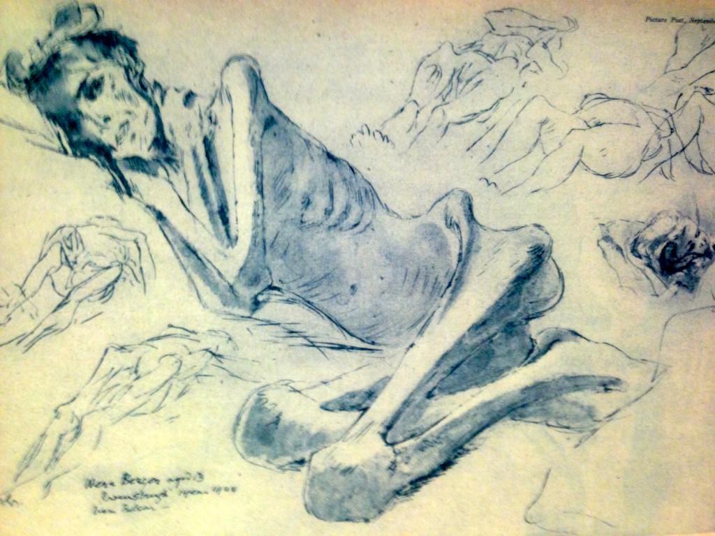 Muselmann_Zeichnung_Edgar_Ainsworth_1945_Bergen-Belsen